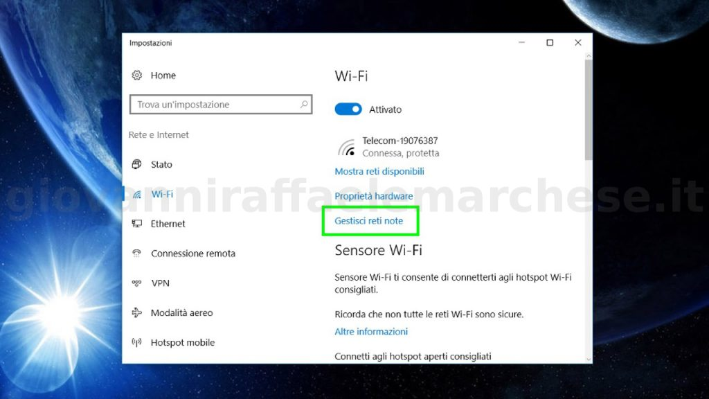 Come cancellare una rete wifi su windows 10