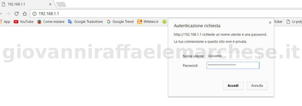 Come impostare la password del wifi